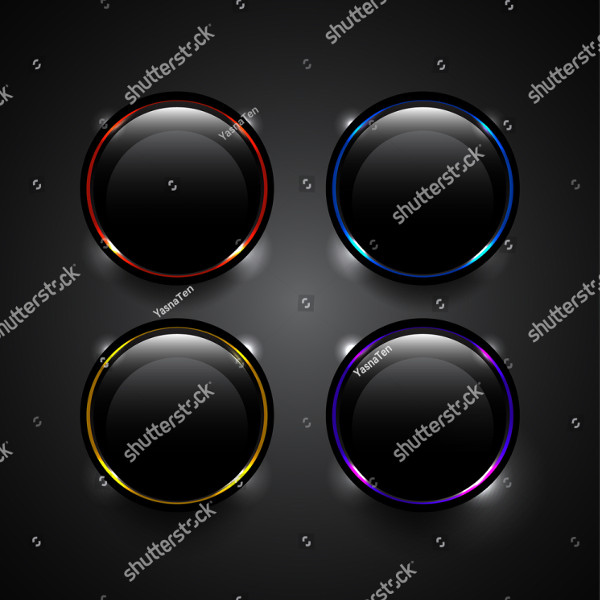 Vector Black Technology Buttons with Glowing Elements