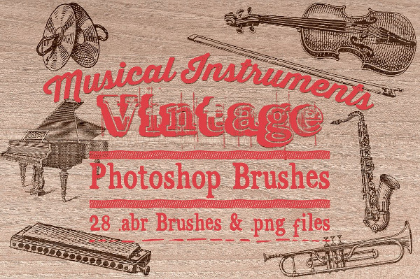 Vintage Music Instruments Photoshop Brushes