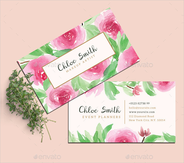 Watercolor Floral Business Cards Design