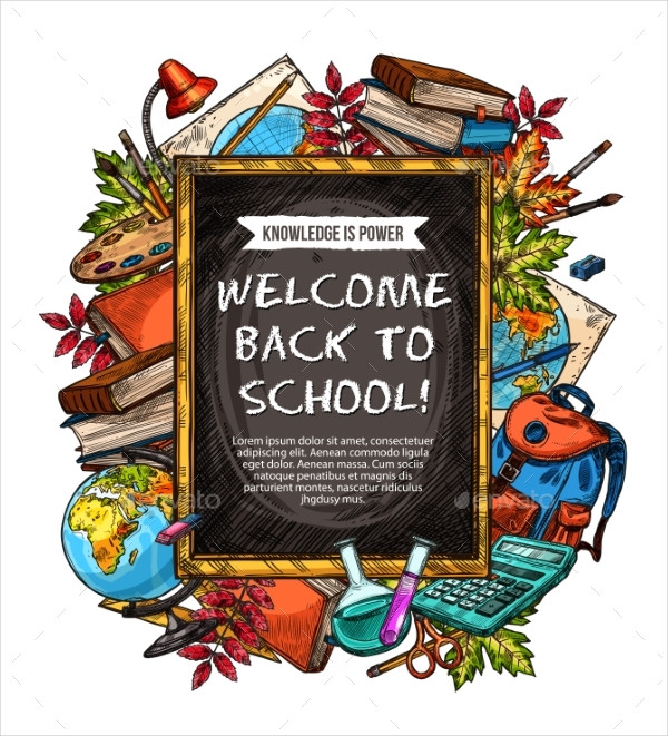 Welcome Back to School Sketch Banner Design