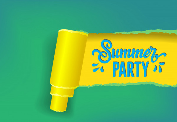 Welcome Summer Party Seasonal Banner in Yellow Free