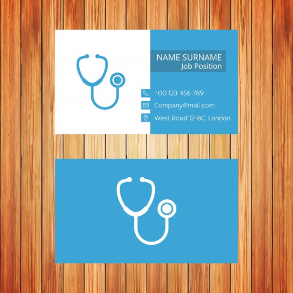 White and Blue Doctor Business Card Free