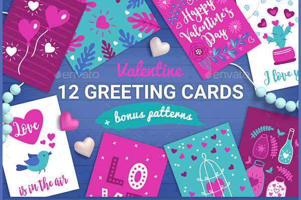 12 Valentine Cards Seamless Patterns