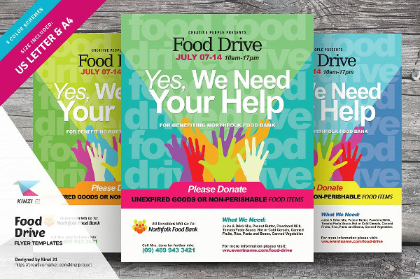Food Drive Advertisement Flyers