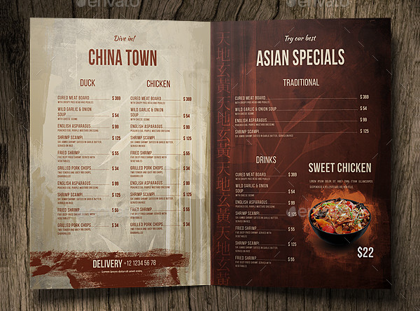 Chinese A4 and US Letter Menu