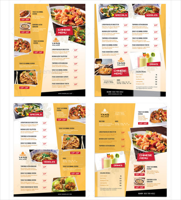 Chinese Restaurant Menu Flyers