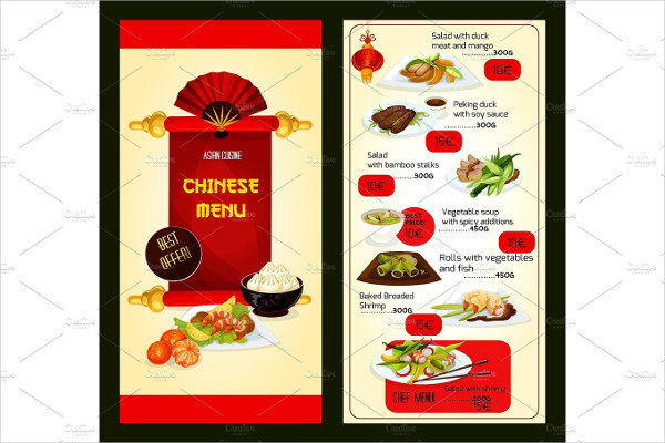 Chinese Restaurant Menu with Asian Cuisine Dishes