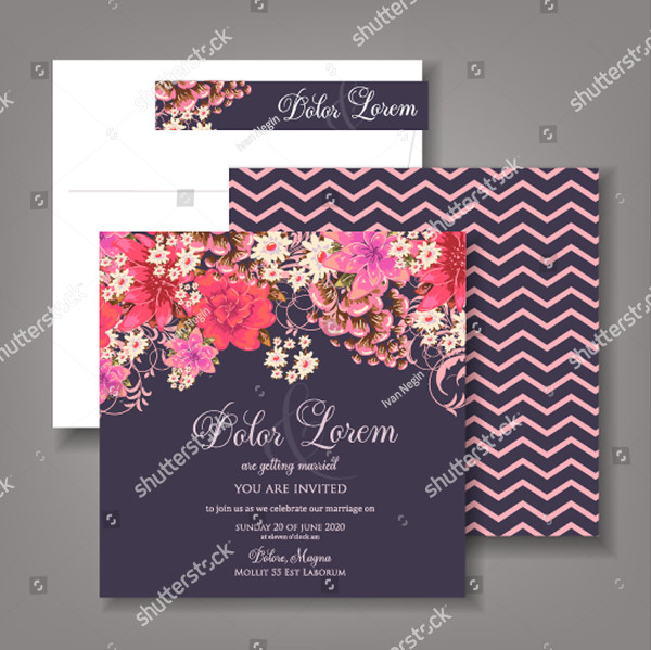 Creative Wedding Invitation Card with Abstract Background