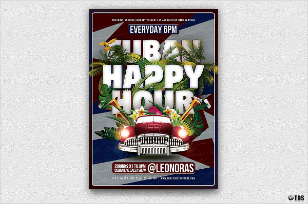 Famous Happy Hour Flyer Template
