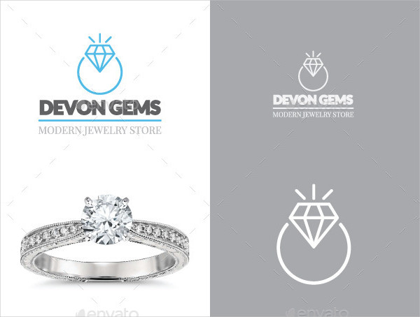 Diamond Jewelry Ring Vector Logo
