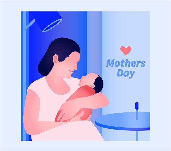Elegant Greeting Card Design With Mother And Baby Free