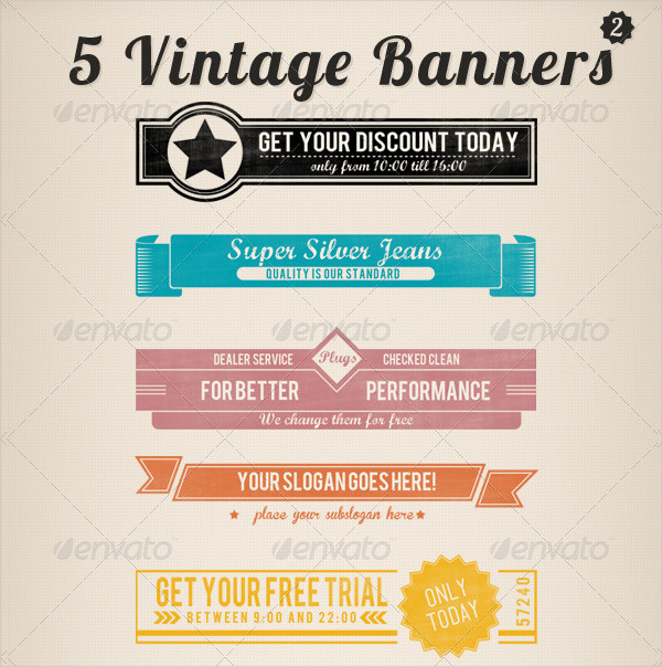 Printable Vintage Retro Banners Set
