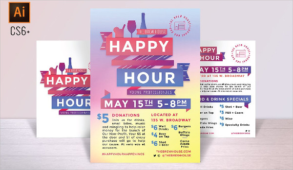 Flat Design Happy Hour Poster And Flyer