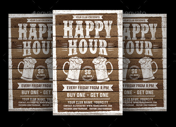 Happy Hour Party Flyer Template