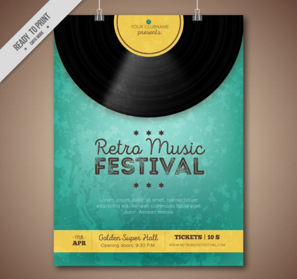 Retro Music Festival Brochure Free