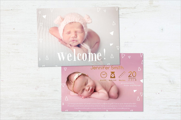 Fully Editable Baby Greeting Card Design
