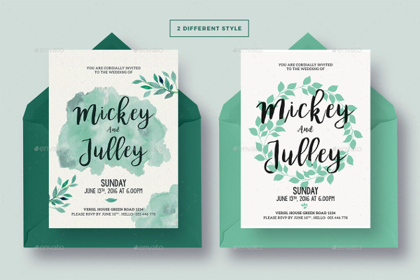 Traditional Wetercolor Wedding Invitation