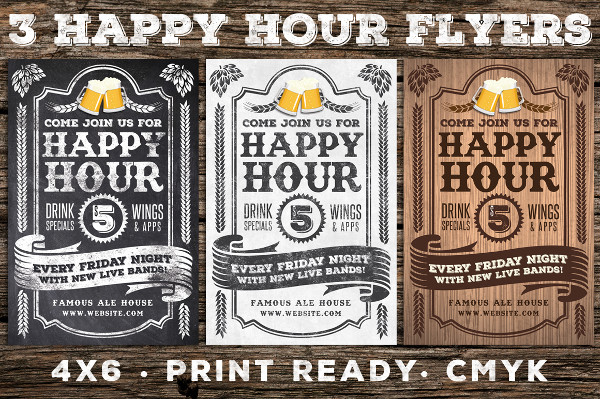 Vintage Happy Hour Flyers
