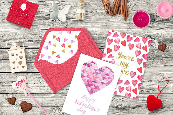 Collection of Watercolor Love Greeting Cards