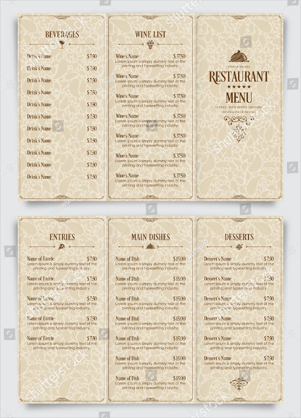 Simple Retro Style Restaurant Brochure