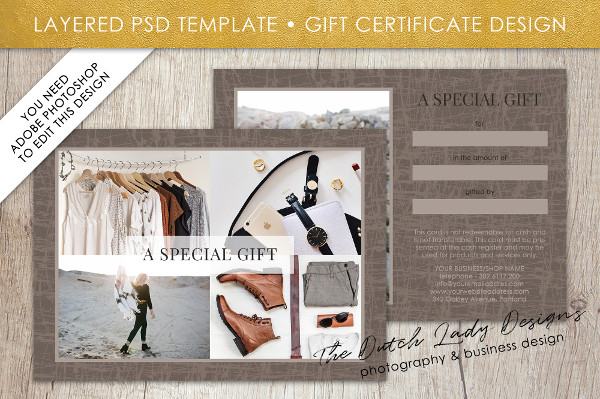 Photo Gift Card Template for Adobe Photoshop