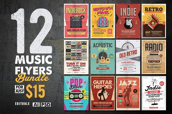 12 Indie Music Flyers Bundle