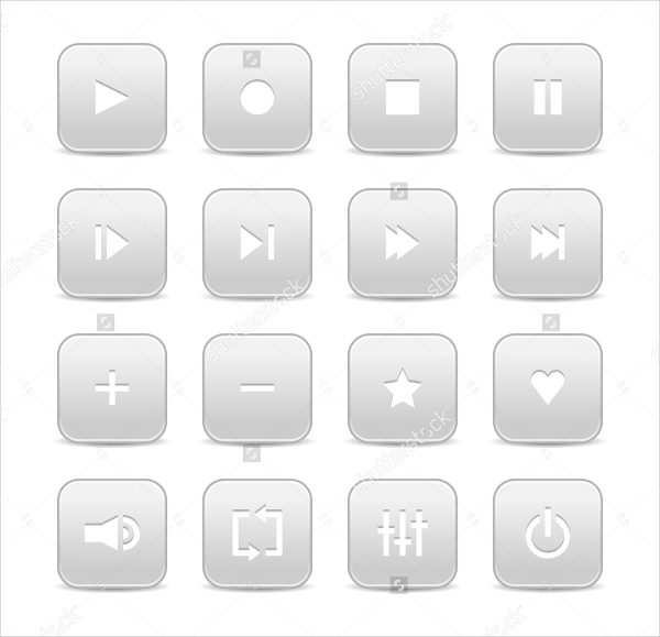 16 Multimedia Buttons of Audio and Video