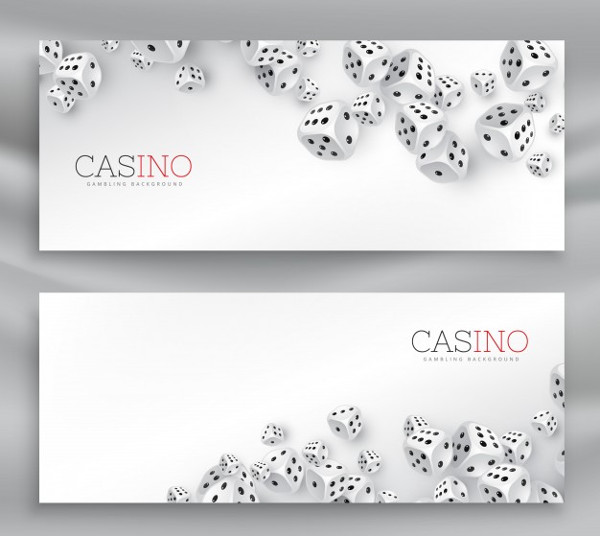 2 Casino Banners with Floating Dice Free Vector