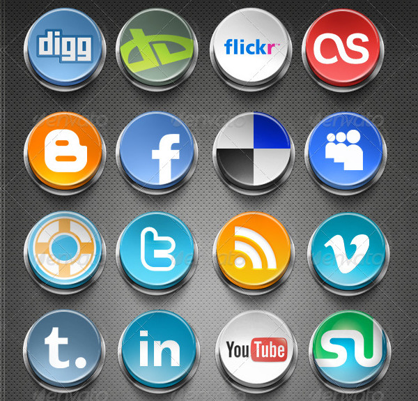 20 PNG Social Network 3D Buttons
