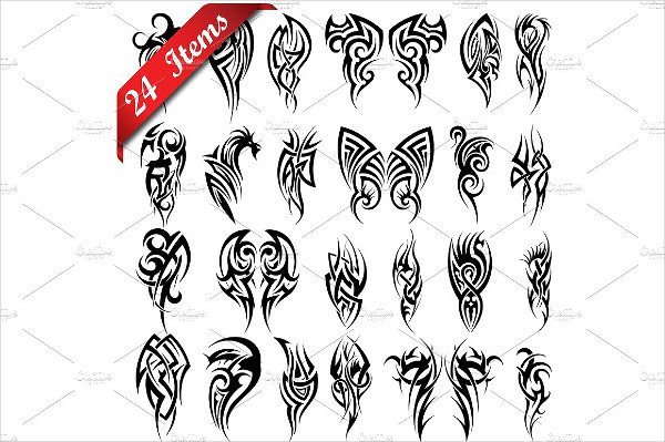 24 Set of Tribal Tattoos Pattern