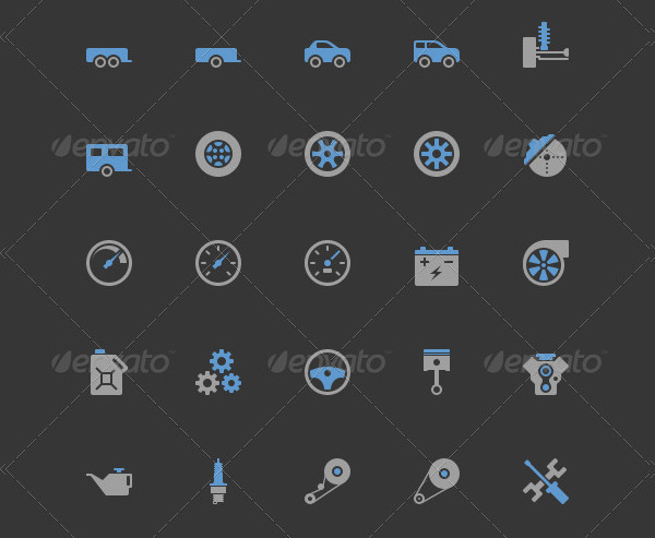 25 Car Parts and Services Icons