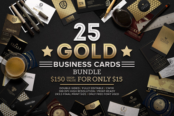 25 Gold Business Cards Bundle