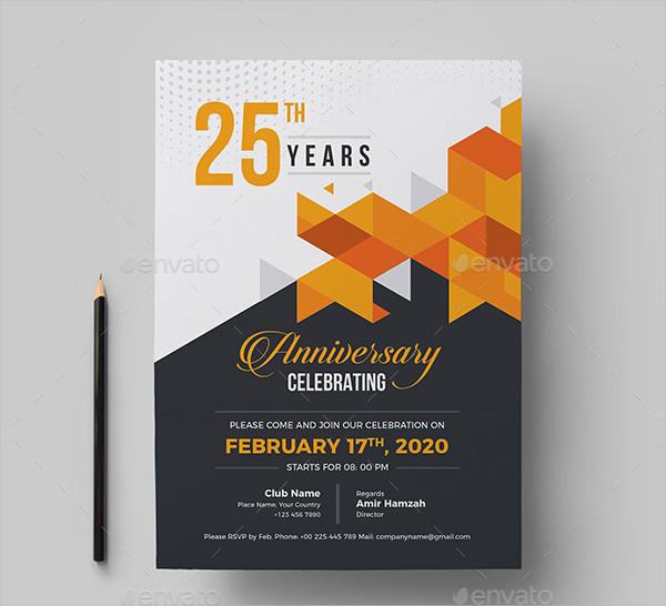 25th Anniversary Invitation Card Template