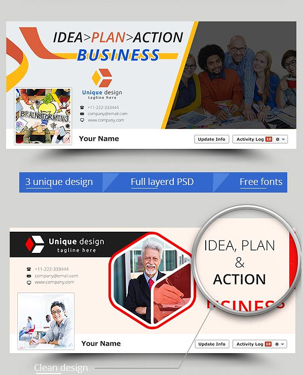 3 Business Facebook Cover Templates