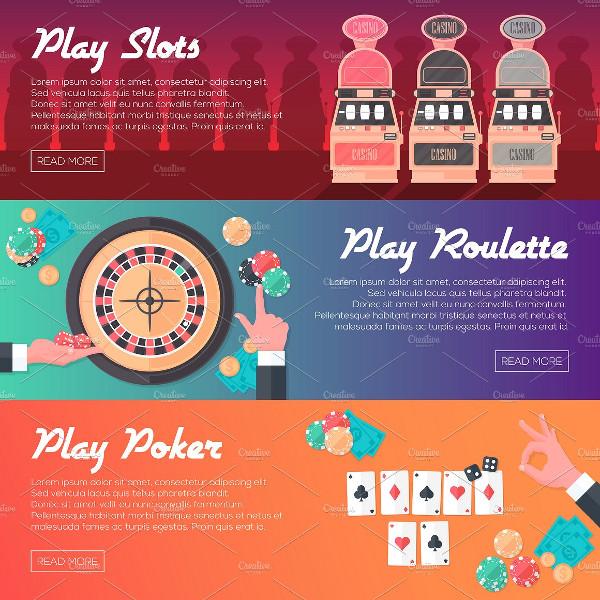 3 Casino Horizontal Banner Set