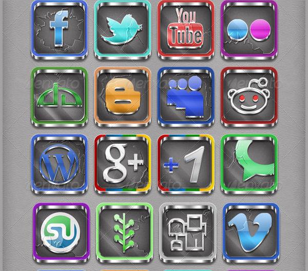 3D Social Media Button Collection