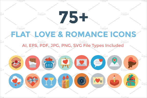 75+ Flat Love and Romance Icons