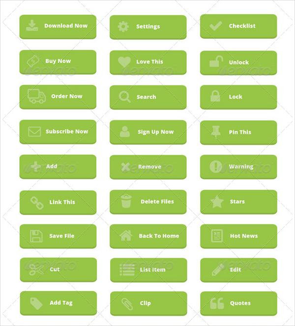 80+ Clean Buttons Flat Design