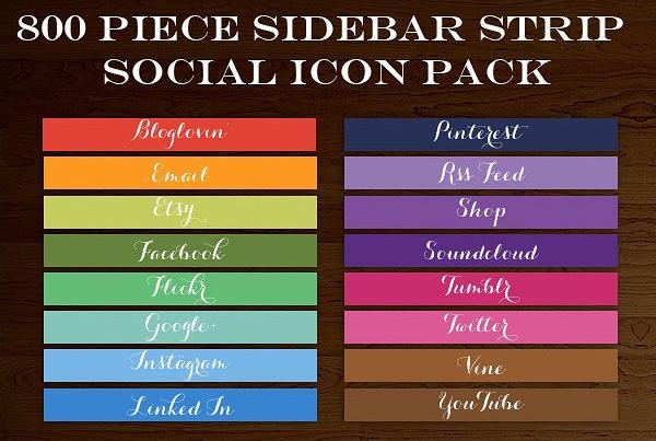 800 Social Media Icon Sidebar Button