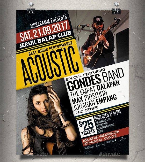 Acoustic Music Flyer or Poster Template