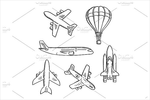 Air Transport Sketches with Jet Airplane & Cargo Planes