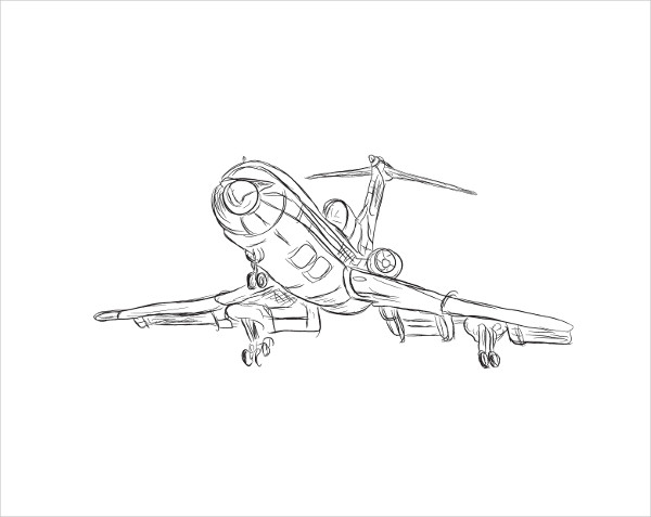 Airplane Drawing Outline