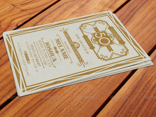Art Deco Style Wedding Anniversary Card Templates