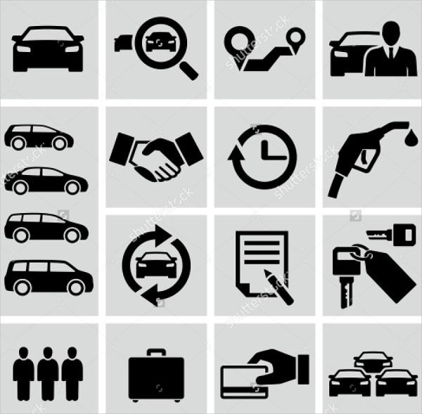 Clean Car Rental Icons