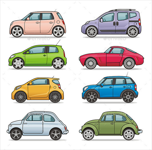 Colorful Car Icons Collection