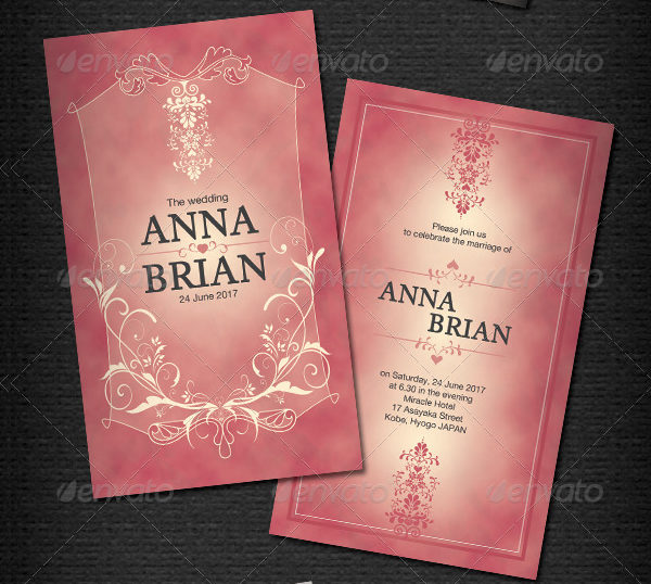 Print Ready Vintage Wedding Card Template