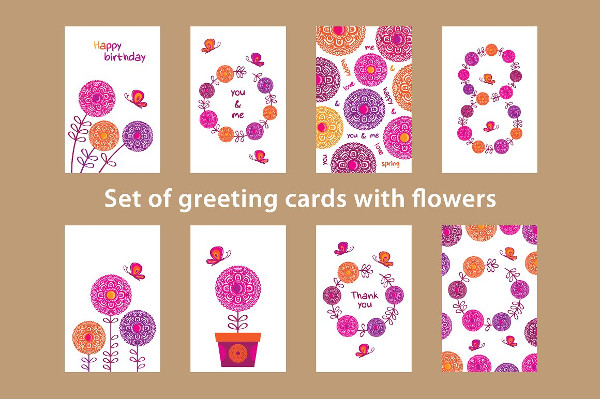 Big Set of Greeting Cards with Flowers