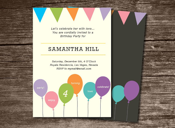 Birthday Invitation with Balloons & Bunting Banner