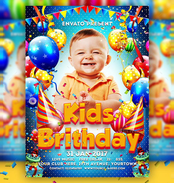 Birthday Kids Party Flyer Template
