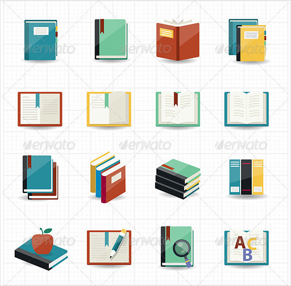 Book and Library Icons with White Background